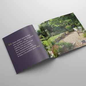 Printed stylebook brochure for Lush Garden Design, designed by Keefomatic