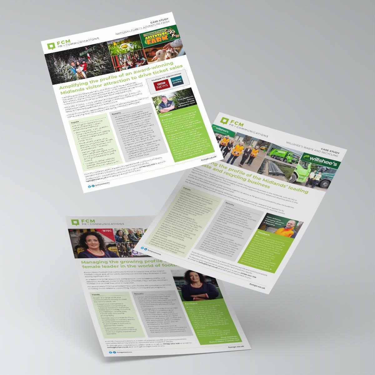 Case study flyers for FCM PR & Communications